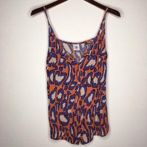 cabi Orange & Purple Leopard Isla Cami #5040 SZ M